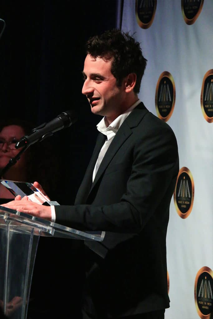 "Justin Hurwitz (in the picture), Benj Pasek, Justin Paul and Ryan Gosling won in the category ""Song - Dramatic Feature"" with their song 'City of Stars' (La La Land)."